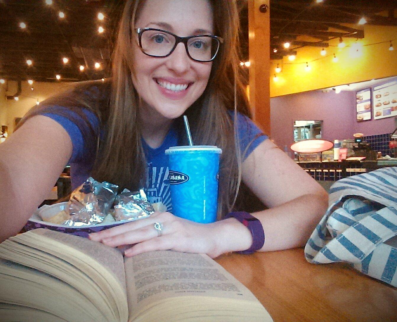 Reading book at restuarant